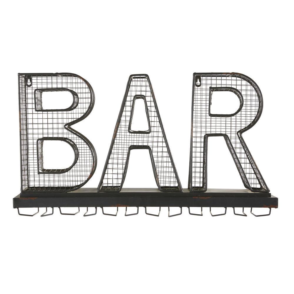 Maisons du Monde Portavasos palabra bar de metal negro con efecto óxido