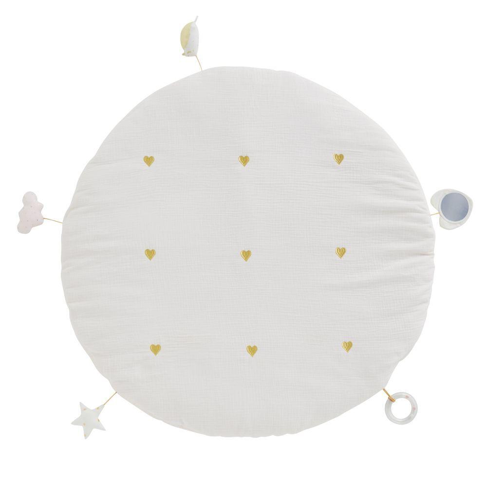 Maisons du Monde Alfombra de estimulación para bebé redonda con juguetes de algodón rosa y dorado D. 90