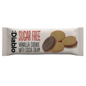 :Diablo Galletas de Vainilla Rellenas de Crema de Chocolate sin Azúcar  44g  (Paquete de 4 galletas)