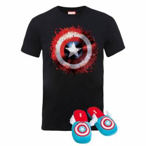 Marvel Pack Capitán América: Camiseta + Pantuflas - Pantuflas L-XL - Mujer - M