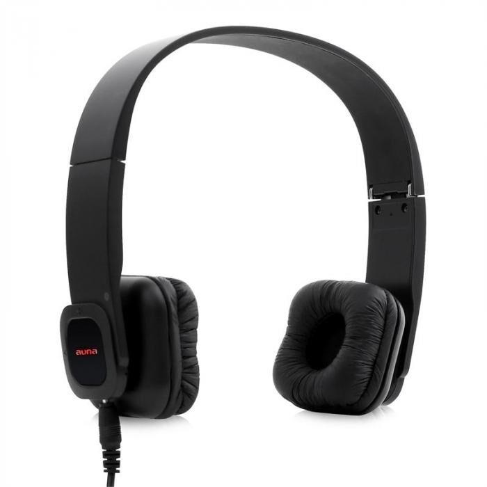 Auna auriculares - bluetooth, batería, manos libres, cuero