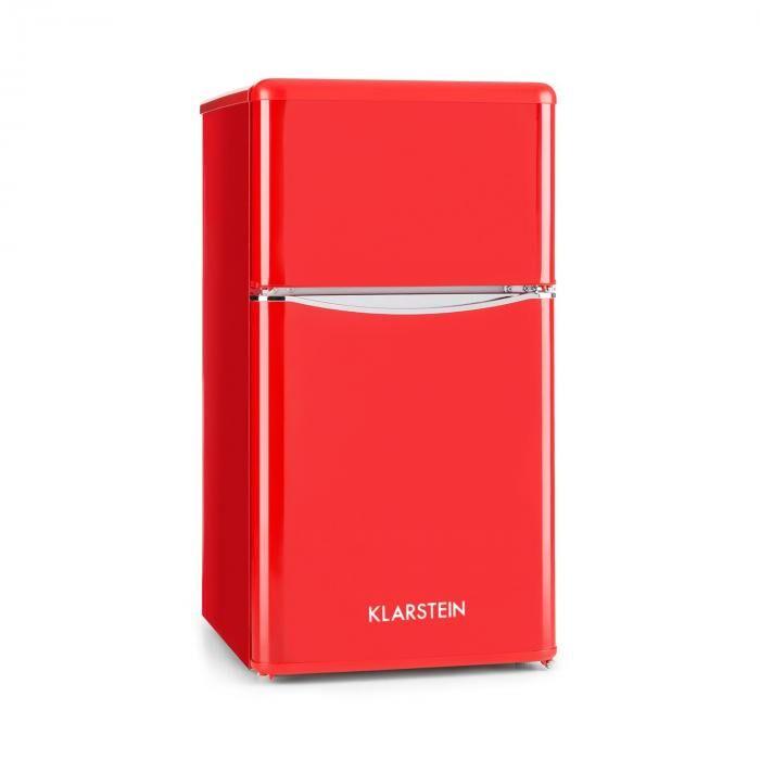 Klarstein Monroe Red Frigorífico/Nevera combi de 61/24 l, clase A+, estilo retro, en rojo