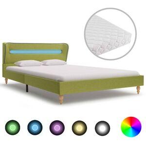 vidaXL Cama con LED y Colchón Viscoelástico Tela Verde 120x200 cm