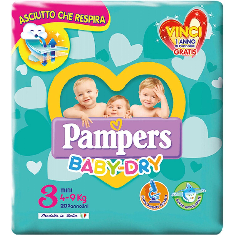 Pampers - Baby Dry Abajo Tamaño 3 4-9kg 20 Piezas