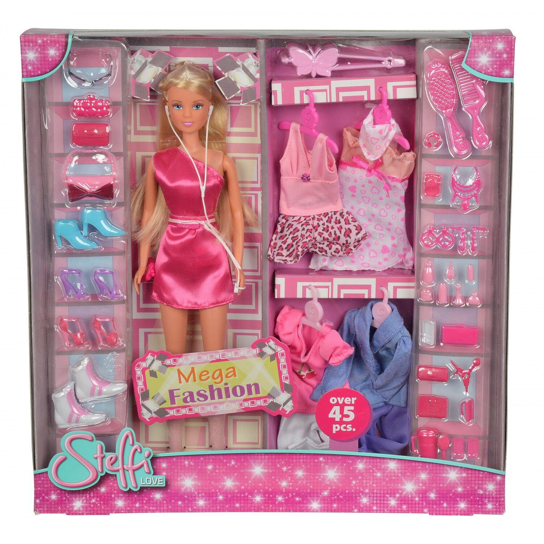simba steffi love mega fashion muñeca con varios conjuntos y complementos import