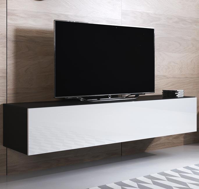 Blanco Mueble TV modelo Luke H2 (160x30cm) color negro y blanco