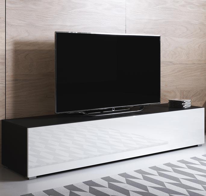 Blanco Mueble TV modelo Luke H2 (160x32cm) color negro y blanco con patas estándar