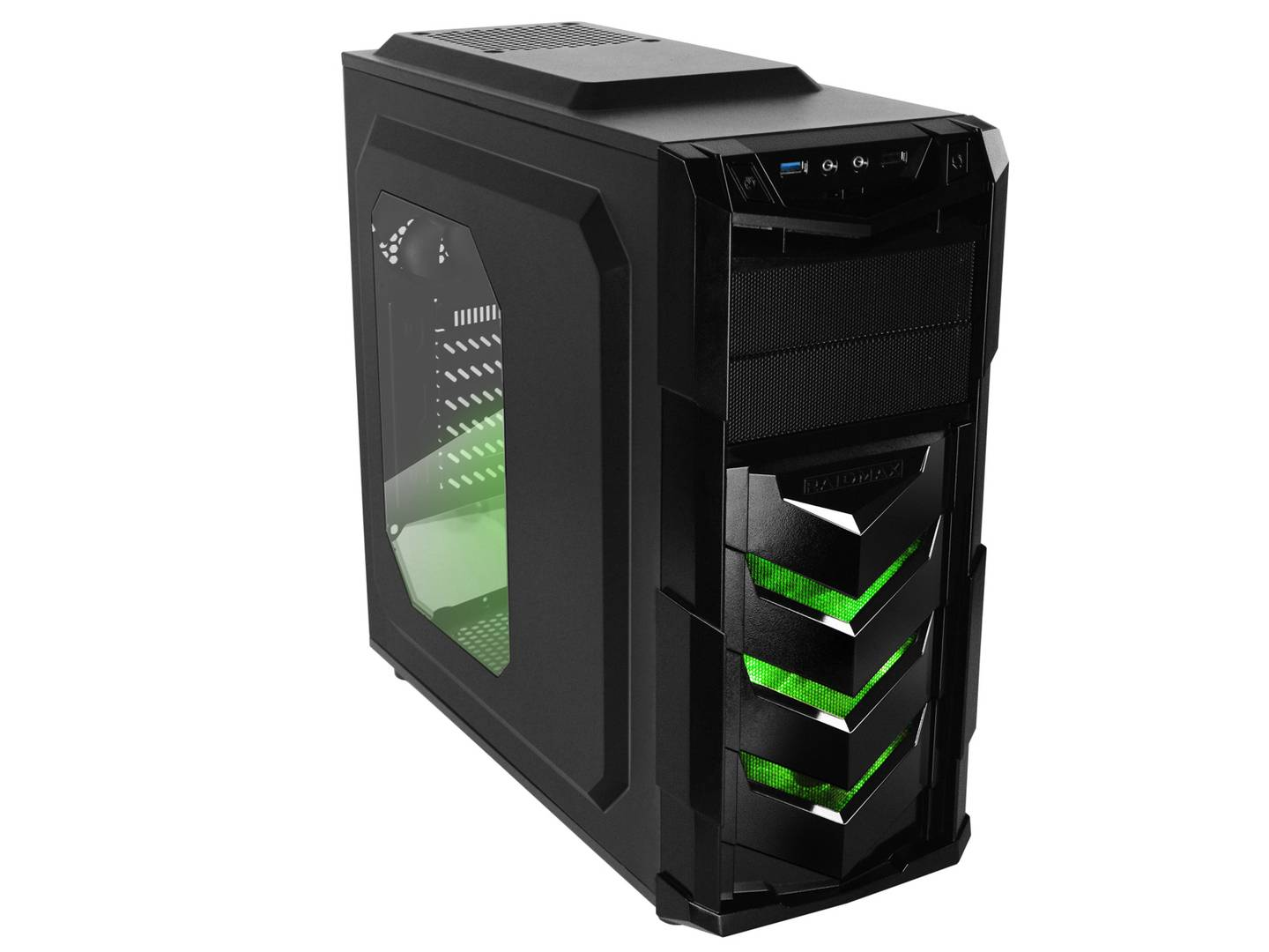 RaidMax Caja Gaming  VORTEX V4 404WB ATX Mid Tower Gaming (Verde)
