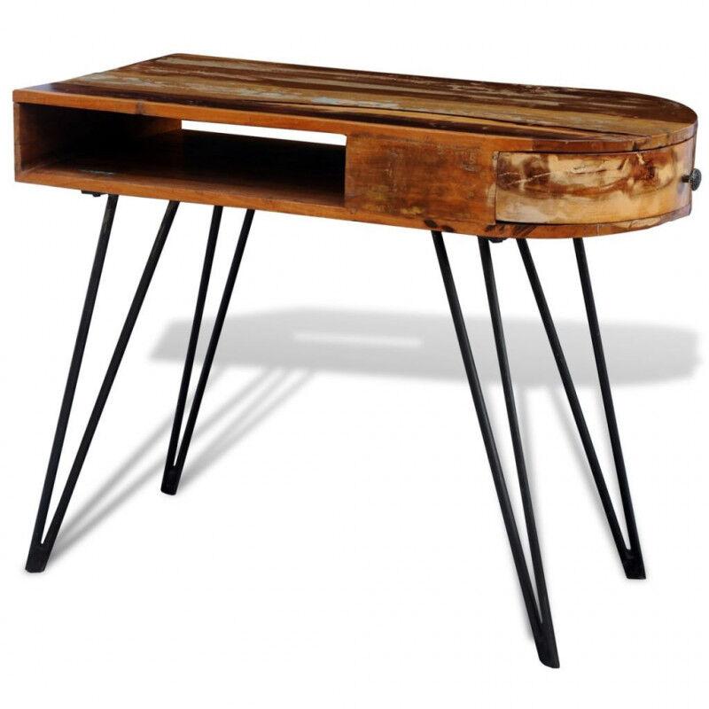 VidaXL Escritorio de madera reciclada con patas de hierro Vida XL