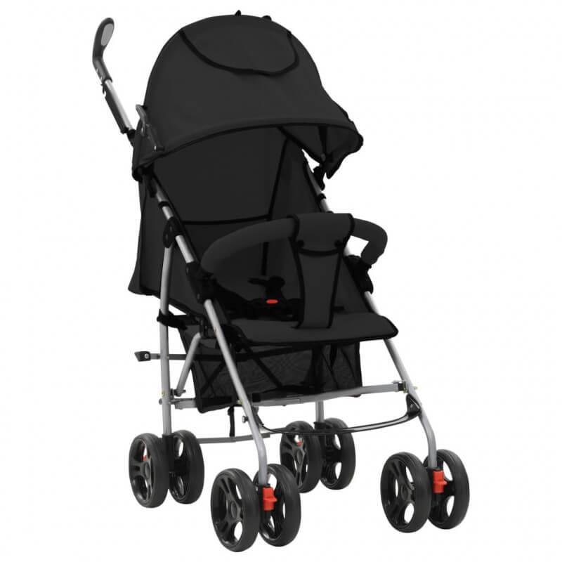 VidaXL Cochecito sillita paseo de bebé 2 en 1 negro acero Vida XL