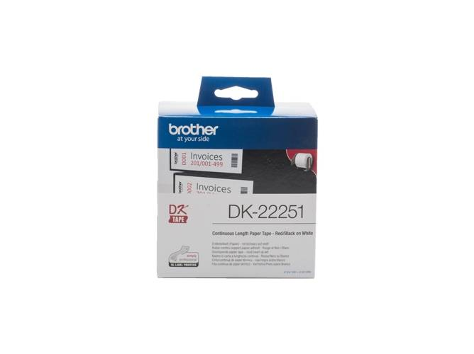 Brother Consumible Original Brother DK22251 Cinta continua de papel térmico con impresión a negro y rojo (blanca). Ancho: 62 mm. Longitud: 15,24mpara...