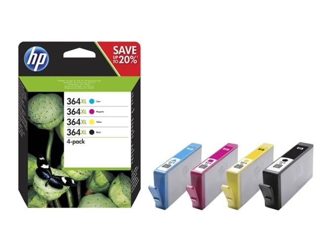 HP Pack 4 cartuchos tinta N9J74AE: HP 364 XL Negro + Color