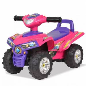 vidaXL quad atv correpasillos infantil con sonidos y luces rosa morado Juguetes Vehículos a pedales o para empujar