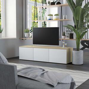 vidaXL mueble para tv aglomerado blanco y roble sonoma 120x34x30 cm Muebles tv Muebles tv