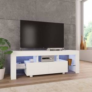 vidaXL mueble para tv con luces led blanco brillante 130x35x45 cm Muebles tv Muebles tv
