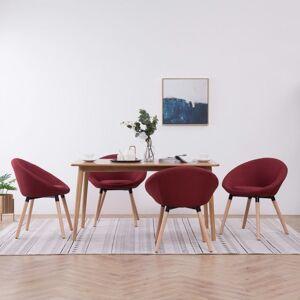vidaXL sillas de comedor 4 unidades de tela color vino tinto Sillas Sillas de comedor