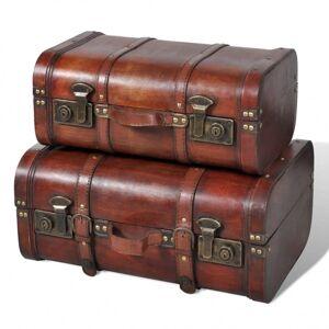vidaXL baúl cofre de madera vintage marrón 2 unidades Armarios y almacenamiento Baúles de almacenamiento