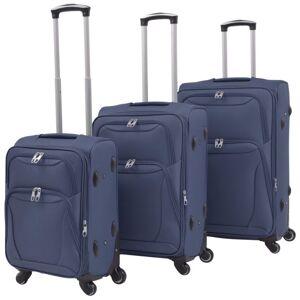 vidaXL juego de 3 maletas blandas azul marino  Maletas