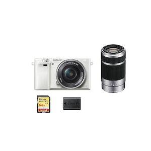 Sony A6000 Blanco KIT SEL 16-50MM F3.5-5.6 OSS Plata + SEL 55-210MM F4.5-6.3 OSS Plata + 64GB SD card + NP-FW50 Bateria