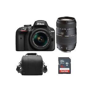 Nikon D3400 Negro KIT AF-P 18-55mm F3.5-5.6G VR + TAMRON AF 70-300mm F4-5.6 Di LD MACRO 1:2 (A17N) + Bolsa de la camara + Tarjeta SD de 16 gb