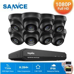 SANNCE Kit Video vigilancia cctv sistema de seguridad 8CH TVI 5 en 1 grabadora + cámara de vigilancia exterior a prueba de intemperie HD 1080p visión