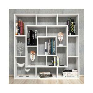 HOMEMANIA Libreria Frame - Estanteria para Libros, Mueble de Pared con Compartimientos para Salon, Oficina - Blanco, in Aglomerado Melaminico, PVC, 125x22x125