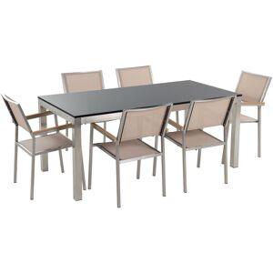 Beliani - Conjunto de jardín mesa con tablero de piedra natural 180 cm, 6 sillas beige GROSSETO