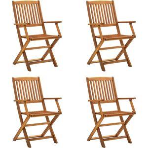 VIDAXL Sillas de jardín plegables 4 unidades madera maciza de acacia - VIDAXL