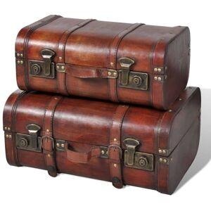 VIDAXL Baúl cofre de madera vintage marrón 2 unidades - VIDAXL