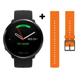 POLAR Reloj deportivo - Polar Ignite, Funciones salud, GPS, Frecuencia cardíaca, 5 días, Negro + Correa naranja