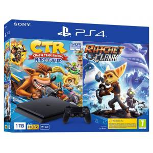 Sony - Consola - PS4 Slim 1TB + Crash Bandicoot Nitro fueled + Ratchet & Clank