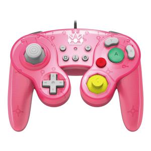 HORI Mando - Hori Battle Pad, Modelo Peach, Con Cable, Para Nintendo Switch, Función turbo con 3 ajustes, Rosa