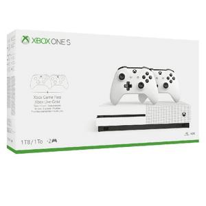 Microsoft - Consola - Xbox One S de 1TB, Blanco + 2 mandos