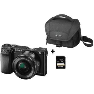 Sony Pack Cámara EVIL - Sony A6000, 24.3 MP, Full HD, WiFi, Negro + E PZ 16-50 mm f/3.5-5.6 OSS
