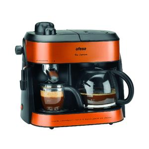 UFESA Cafetera semi-automática -  Ufesa CK7355, 10/4 Tazas, 1800W, 1.25 l, Antigoteo, Naranja