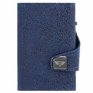 Tru Virtu Click & Slide Porta tarjetas de credito Monedero RFID piel 6,5 cm blue-titan