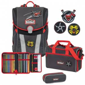 Scout Sunny Funny Snaps Mochila escolar con accesorios Set 4-pcs. ninja star