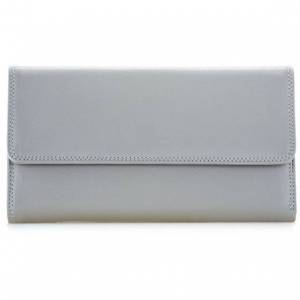 mywalit Tri Fold with Outer Zip Purse Monedero piel 10 cm grey