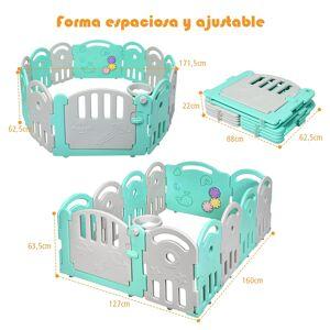 Costway Parque Plegable con 12 Paneles para Niños con Cierre Juguetes Música y Canasta de Interior y Exterior Verde+Gris