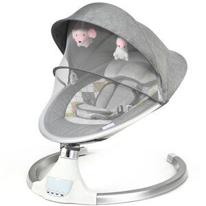Costway Silla Mecedora Eléctrica con Techo Removible Mosquitera 5 Amplitudes y 3 Funciones Temporizador para Bebés 0-12 Meses 71 x 64 x 70 cm