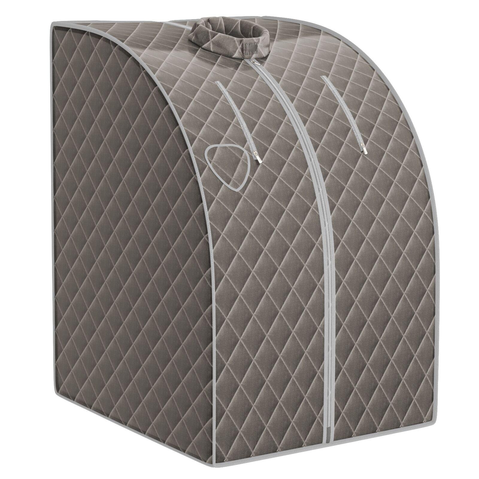Costway Sauna de Vapor Portátil 3 L con Mando Temporizador Temperatura Regulables y Función Atomización Gris 78 x 87 x 101 cm
