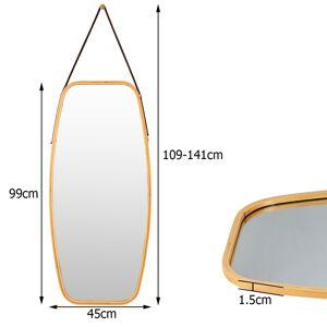Costway Espejo del Baño Montado a la Pared con Estructura de Bambú y Tira en Cuero Regulable para Salón Dormitorio Entrada 99 x 45 x 1 5 cm