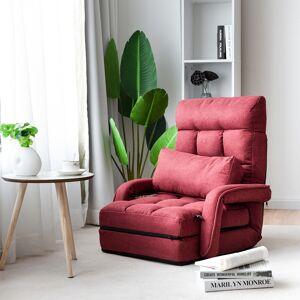 Costway Sofá Perezoso Tumbona Individual con Almohadilla Sillón Multifuncional Cama Plegable para Dormitorio Salón Balcón 67 x 65 x 72 cm Rojo
