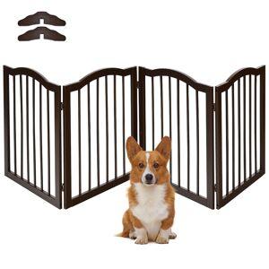 Costway 4 Paneles Barrera de Seguridad Plegable de Protección para Chimenea Niños Mascotas Puerta Escaleras 204 x 61 x 2 cm Marrón