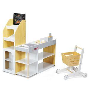 Costway Supermercado Juguete con Carro de la Compra y Caja Registradora con Lector de Código de Barras Multicolor 90 x 62 x 111 cm
