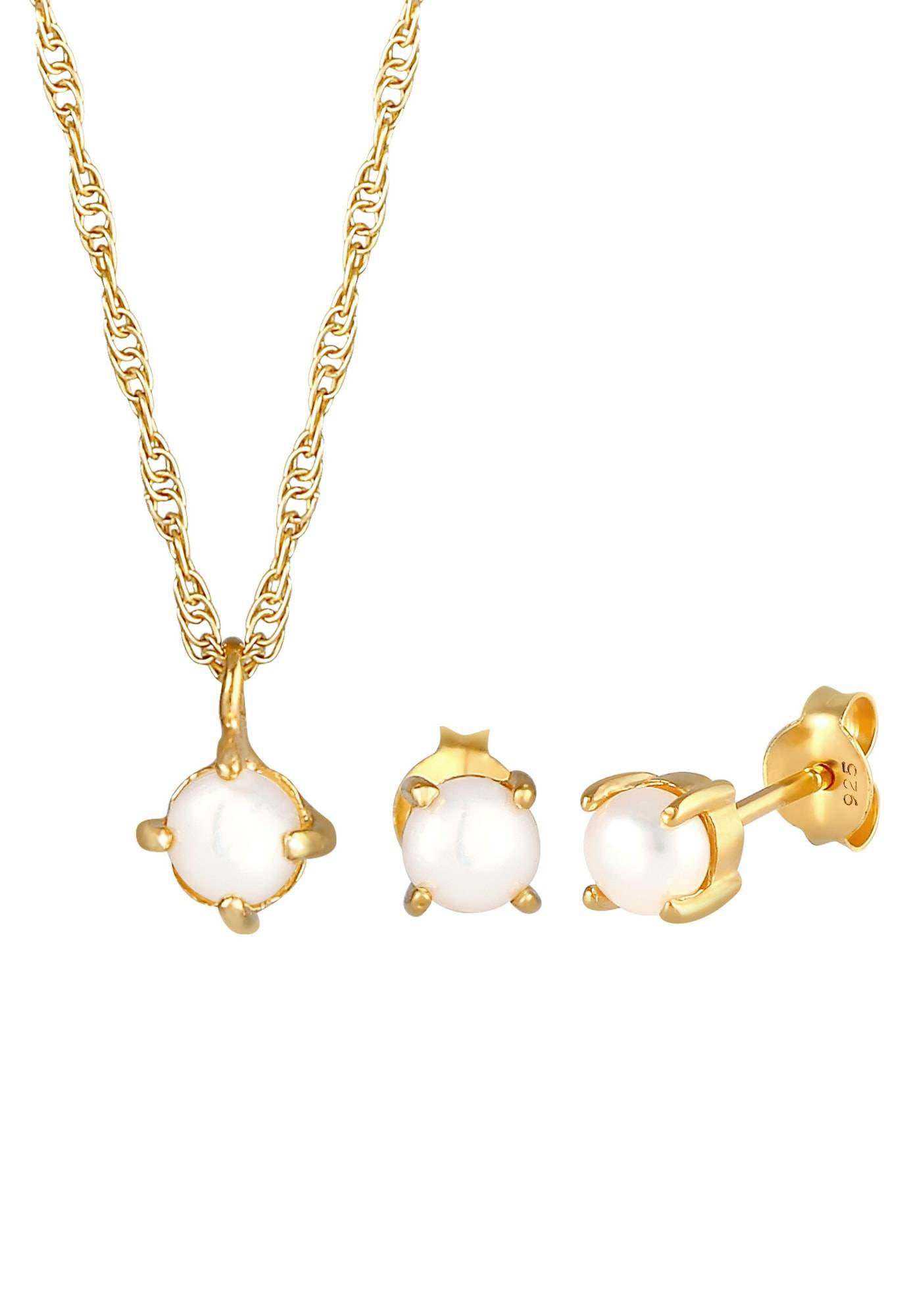 ELLI Conjunto de joyería 'Perle, Perlenohrstecker' Oro
