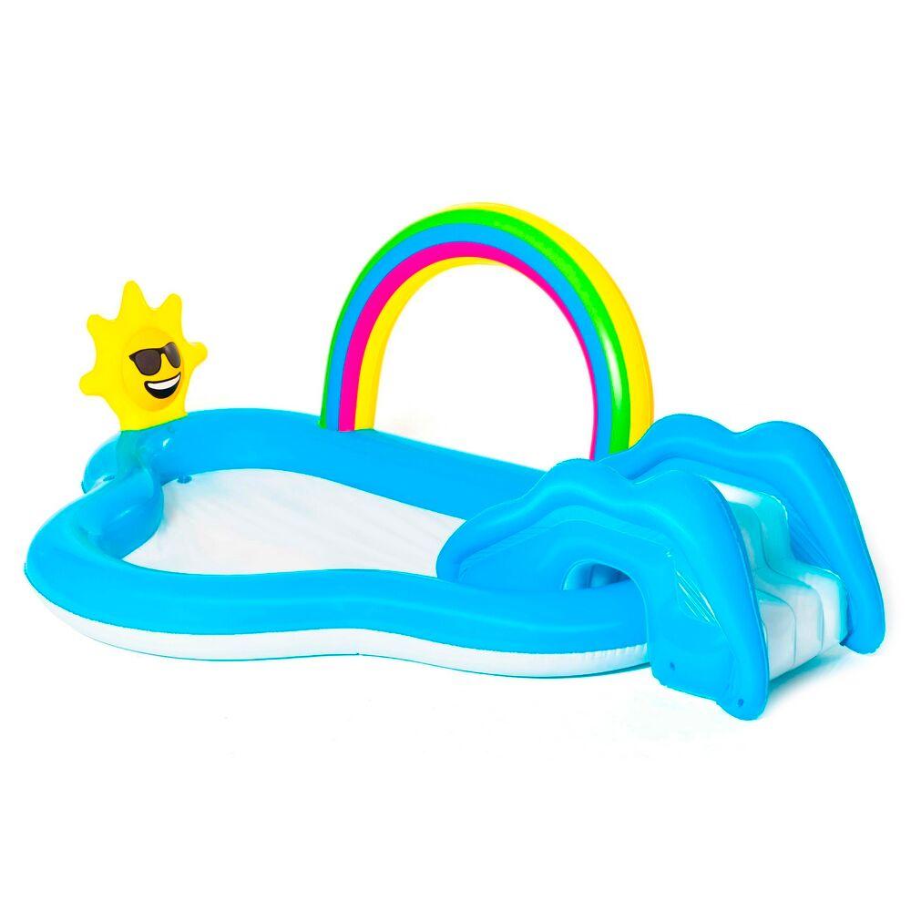 LOLA home Piscina con tobogán para + 2 años azul de PVC infantil de 257x145x91 cm
