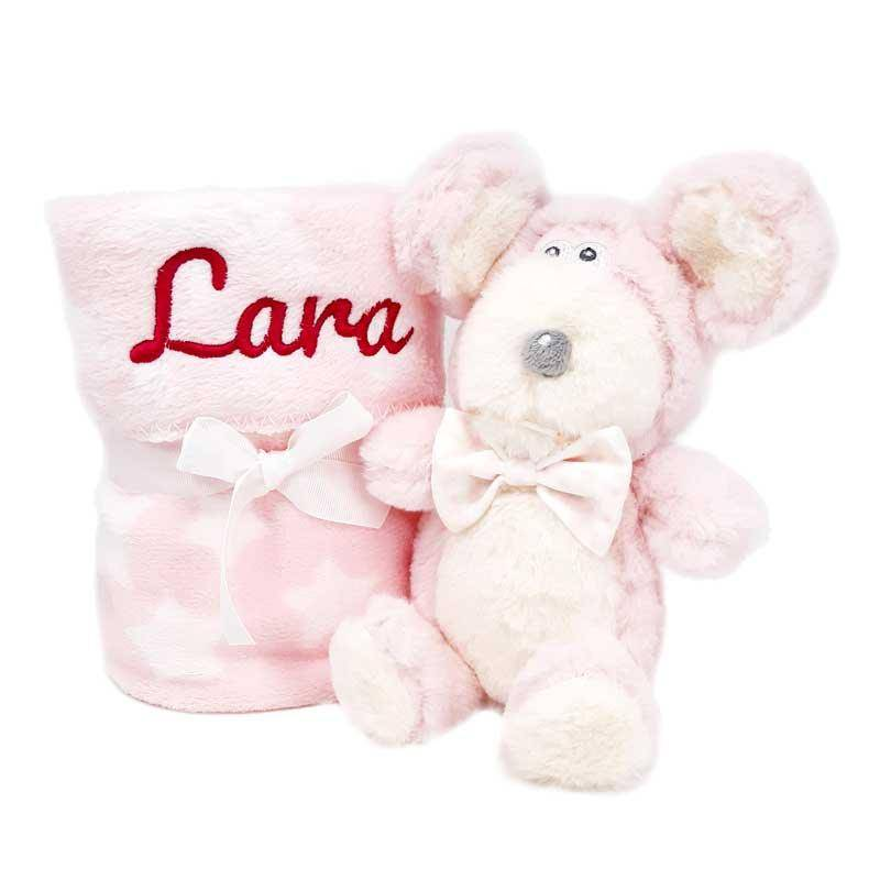 Mababy Manta y Peluche Mouse - Rosa
