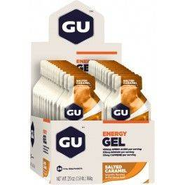 GU Energy Gel con 20 mg de Cafeína - 24 geles x 32 gr Sabor Salted Caramelo