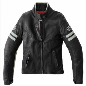 Spidi Vintage Chaqueta de cuero de la motocicleta de las señoras Negro Gris 48